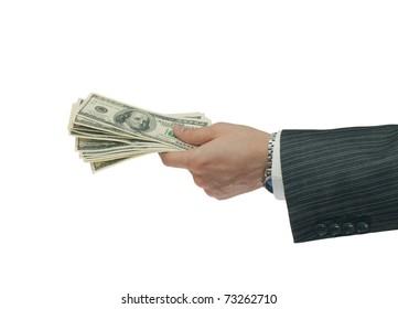 Hand handing over money isolated on white background
