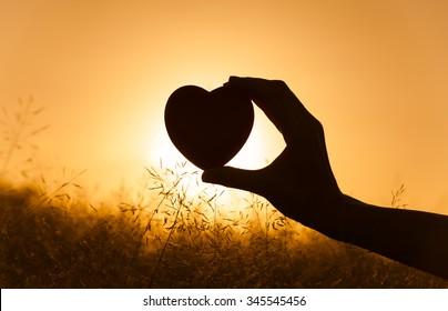 Hand heart in a field.