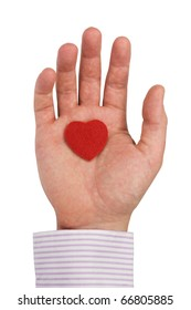 hand with heart isolated on white background