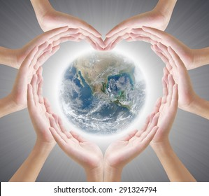 Hand heart shape and earth concept design , Elements of image are furnished by NASA