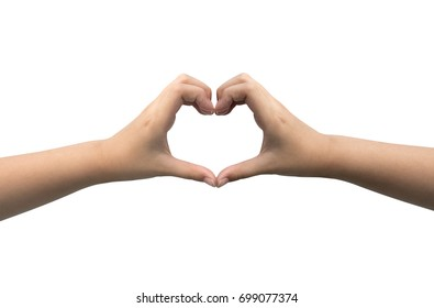 Hand heart sign isolated
