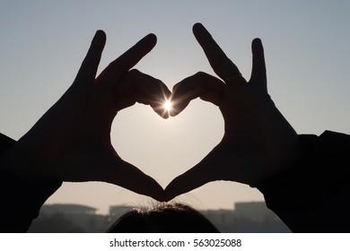Hand heart and sun stars