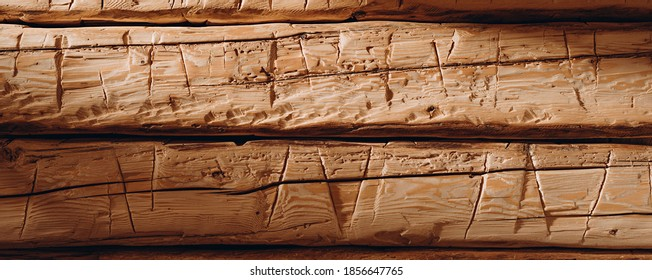 Hand hewn and polished beams. Old good wood. Texture background.