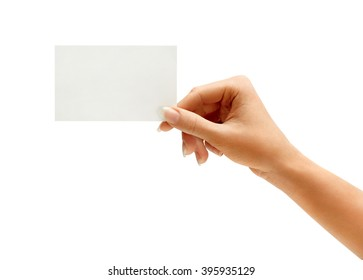 Hand hold blank business card isolated on white background. Close up