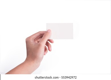 Hand Hold Blank White Card Mock-up. SIM Cellular Plastic NFC Smart Tag Call-card Mock Up Template. Credit Namecard or Transport Ticket. Christmas Store Discount Loyalty Gift. Copy space.