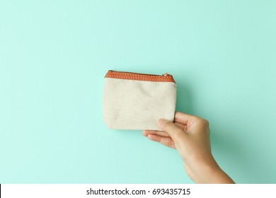 hand hold canvas coin purse mock up
