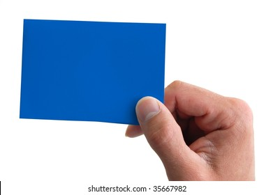 hand hold a colored blank business card isolated on white background