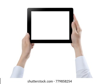 Hand hold digital tablet, cut out on white background