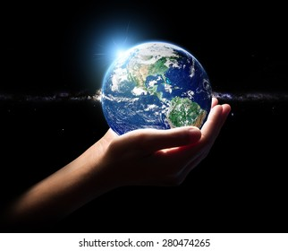 hand hold earth and in universe environment concept element finished by nasa