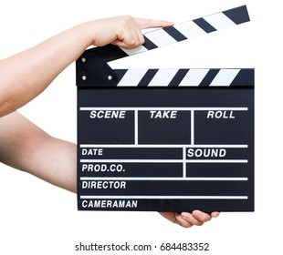 Hand hold a Film Slate isolated on a white