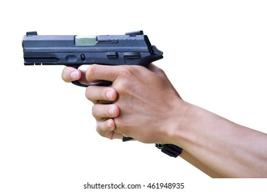 hand hold gun on white isolated background