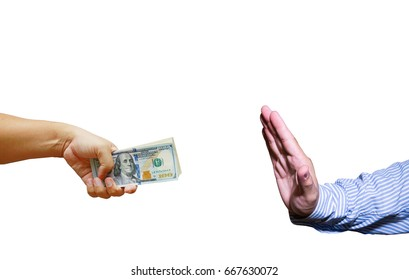 hand hold many dollar banknotes handed to another one, act stop that money . incorruption concept. US Dollor Currency in hand.