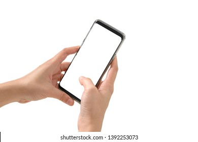 hand hold mobile phonw with white background with clipping path