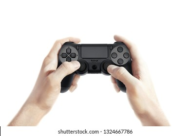 Hand hold new joystick isolated. Gamer play game with gamepad controller. Gaming man holding simulator joypad. Person with keypad joystic in arms. Sleeve hands hold toy equipment. Modern manipulator.