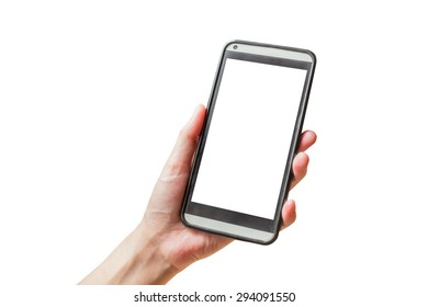 hand hold phone on isolated white with clipping path.