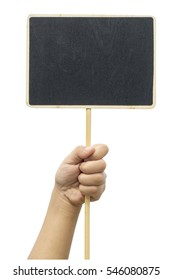 Hand hold and raise small blackboard placard isolated on white