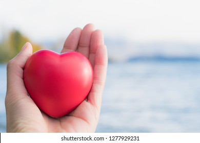 Hand Hold Red Heart Soft Stress Toy with Natural Ocean Background
