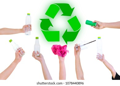 Hand hold show Recyclable Symbol plastic bottle a white background