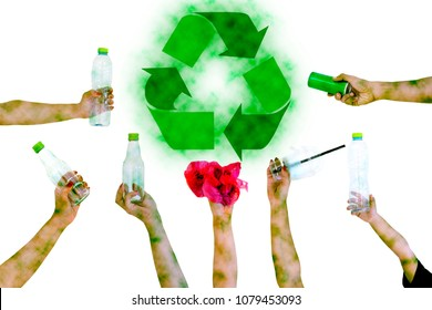 Hand hold show Recyclable Symbol plastic bottle a pollution white background