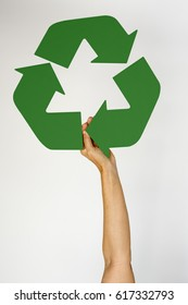 Hand Hold Show Recyclable Symbol