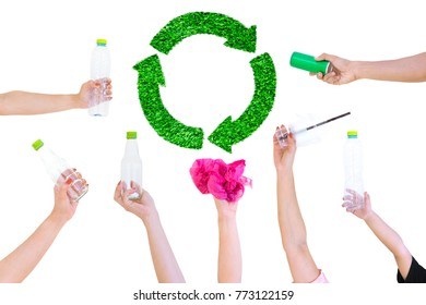 Hand hold show Recyclable Symbol plastic bottle a Green grass White background background