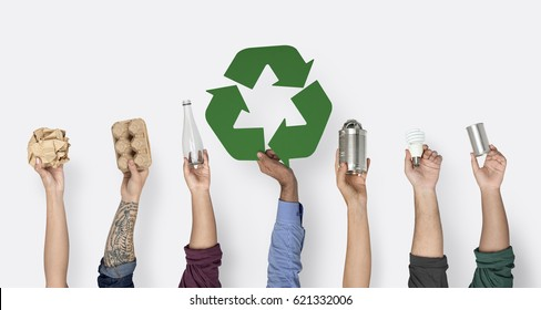 Hand Hold Show Recyclable Things with Symbol