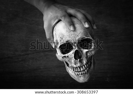 6359158319 Hand Hold Skull Black White Color Stock Photo (Edit Now) 308653397 ...