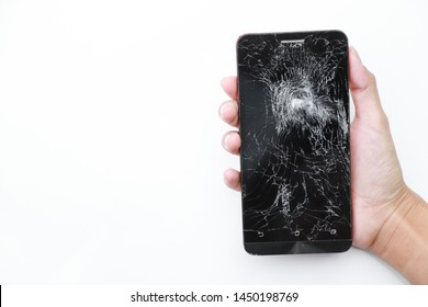 Hand hold smart phone with broken damage on white background. electronic garbage concept
