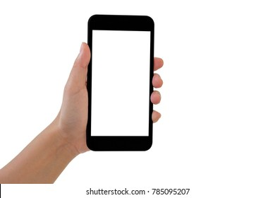 Hand hold smartphone on white background with clipping path.