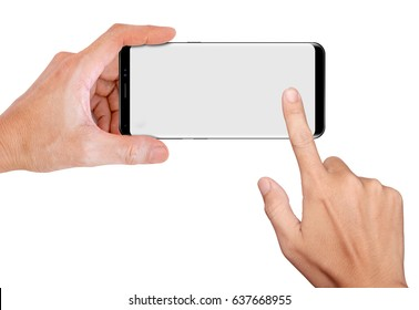 Hand Hold Smartphone for snapping a picture with blank screen
