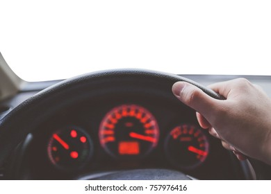 Hand hold steering wheel - Driving car with isolated white background.