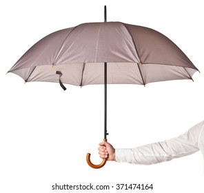 hand hold umbrella isolated on white