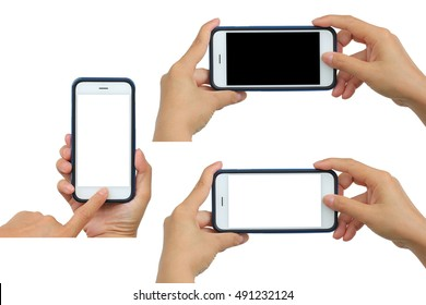 hand hold white modern smart phone similar to iphone style show screen display isolated set