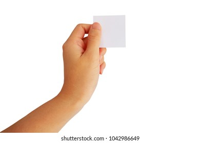 hand is hold white note paper isolated on white background