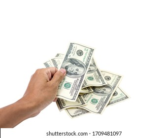 Hand holding 100 dollar bills isolated on white background money. clipping path