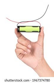 Hand holding 18650 3.5v Battery Holder Case isolated on white background