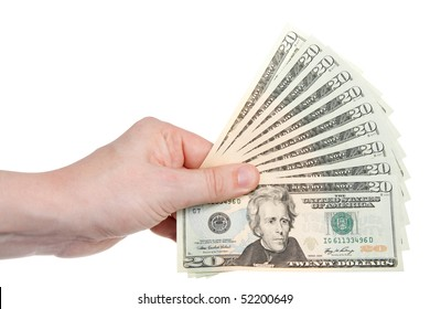 A hand holding $200 in $20 bills in a fan shape.  Studio isolated on a white background with an accurate clipping path.