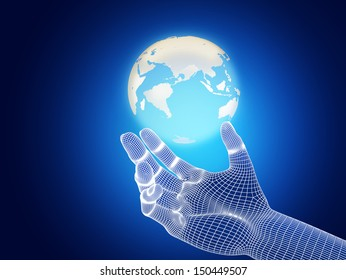 hand holding a 3D model of the Earth