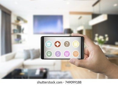 hand holding 3d rendering mobile with application for smart home