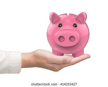 hand holding 3d rendering piggy bank on white background