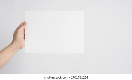 Hand is holding the A4 paper on white background.