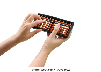 hand holding abacus  ,isolate white background with clipping path