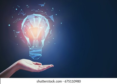 Hand holding abstract glowing polygonal lamp made of connected points on dark background. Knowledge concept. 3D Rendering