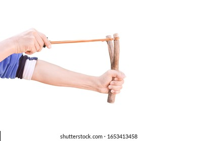 Hand holding aiming Slingshot, Isolated on white background with clipping path.