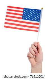 Hand holding american flag,isolated on white background