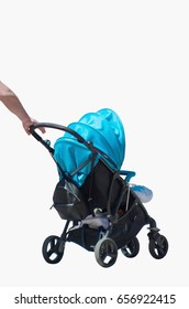 A hand holding a baby cart or pram isolated over white