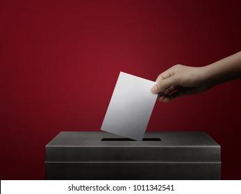 Hånd holder stemmeseddel papir for valg stemme konsept på rød bakgrunn.