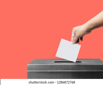 Hand holding ballot paper for election vote concept at Living Coral pantone background, clipping path Isolated.