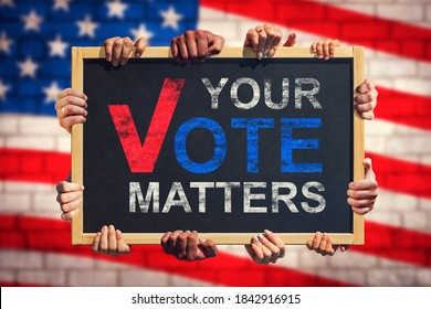 A lot of hand are holding a banner with text YOUR VOTE MATTERS on background of American flag. Your Vote Matters. Concept of voter rights and US election.