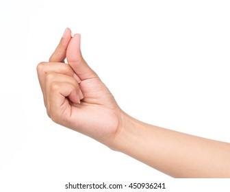hand holding Barley rice isolated on white background